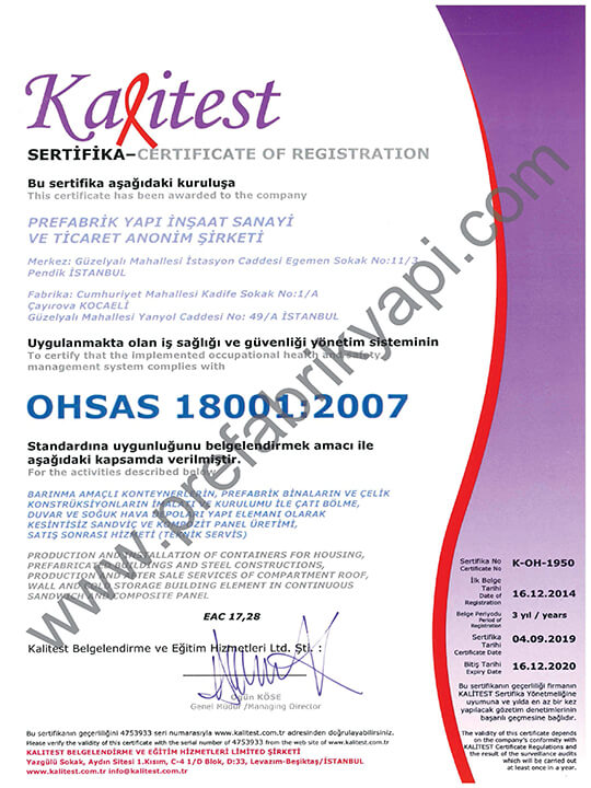 OHAS Management System Certificate